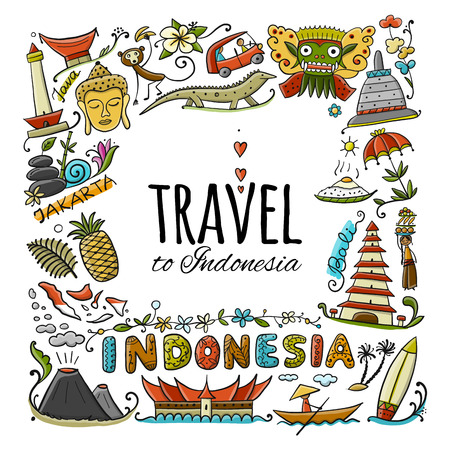 Travel to Indonesia. Greeting card for your design. Vector illustration Stock Illustration - 112054368