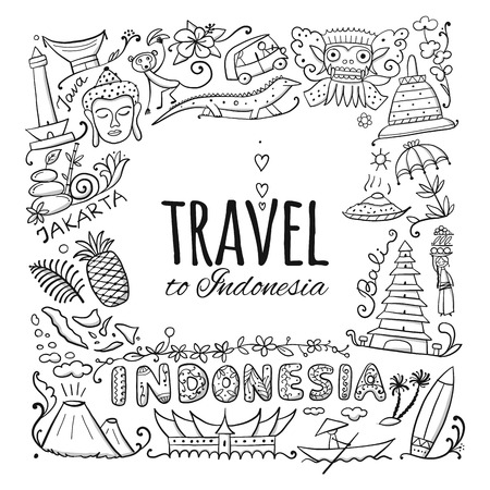 Travel to Indonesia. Coloring card for your design. Vector illustration Archivio Fotografico - 112054371