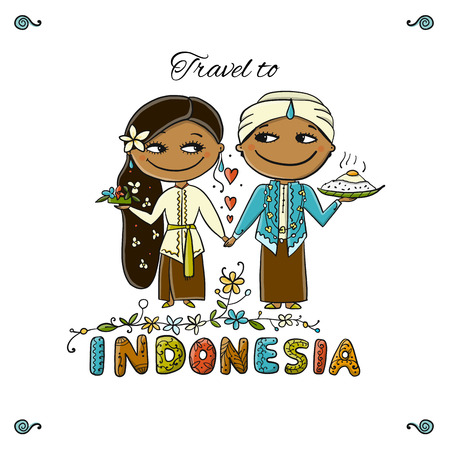 Travel to Indonesia. Greeting card for your design. Vector illustration Stock Photo