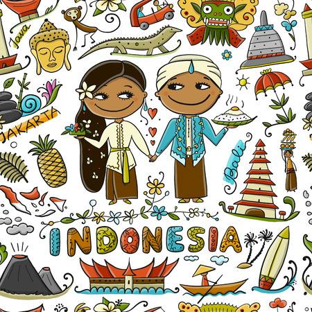 Travel to Indonesia. Seamless pattern for your design. Vector illustration Stock Illustration - 112054374