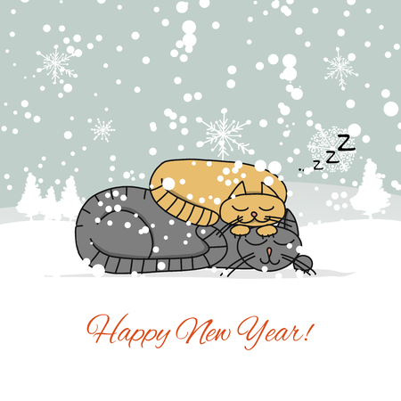 Christmas card design with sleeping cats. Vector illustration Ilustração