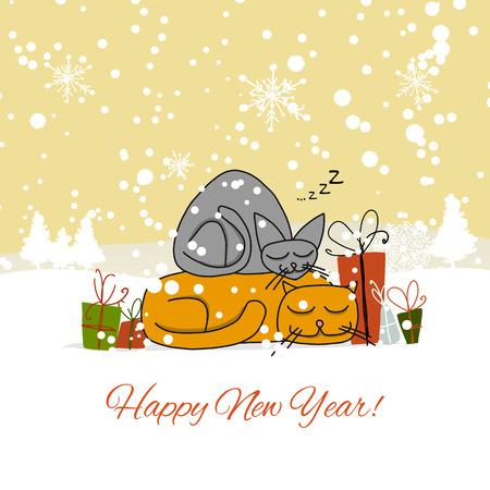 Christmas card design with sleeping cats. Vector illustration Illustration