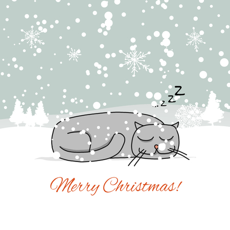 Christmas card design with sleeping cat. Vector illustration