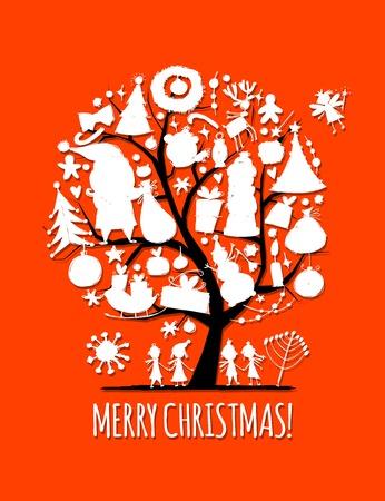 Christmas tree, sketch for your design. Vector illustration Illustration