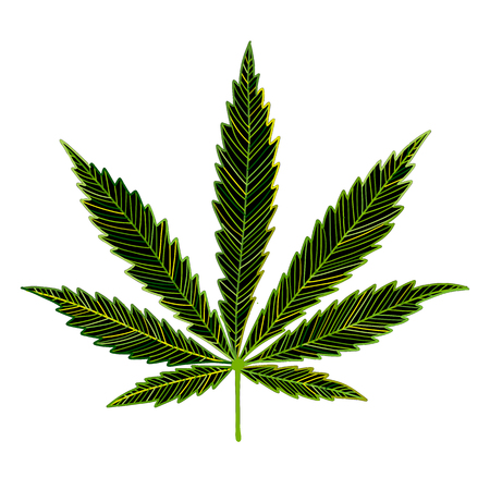 Cannabis leaf, sketch for your design Ilustracja