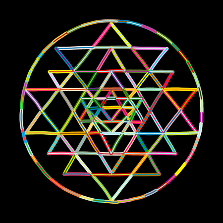 Sacred geometry and alchemy symbol Sri Yantra. Hand drawn sketch for your design Stock fotó - 112510989