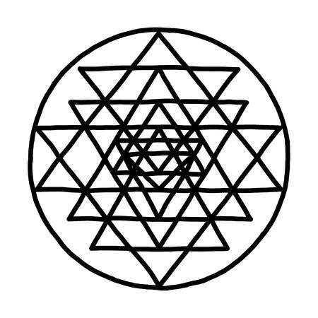 Geometría sagrada y símbolo de alquimia Sri Yantra. Boceto dibujado a mano para su diseño