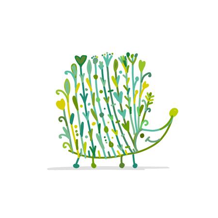 Floral hedgehog, logo set for your design
