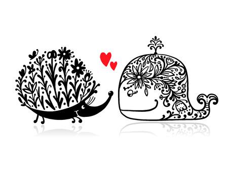 Baleine florale et hérisson, croquis pour votre conception. Illustration vectorielle