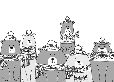 Christmas card with white santa bears family. Vector illustration