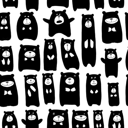 Cute bears family, seamless pattern for your design. Vector illustration Illustration
