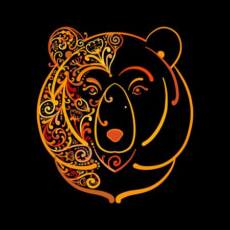 Ornate bear face, sketch for your design