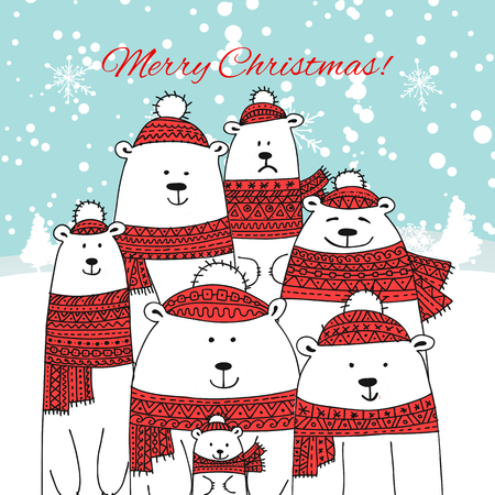 Christmas card with white bears big family. Vector illustration Illustration