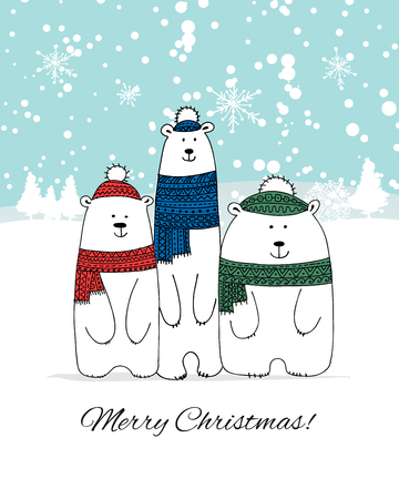 Christmas card with white bears family. Vector illustration Illustration
