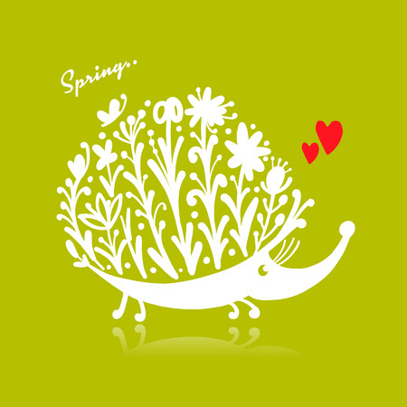 Floral hedgehog, logo set for your design