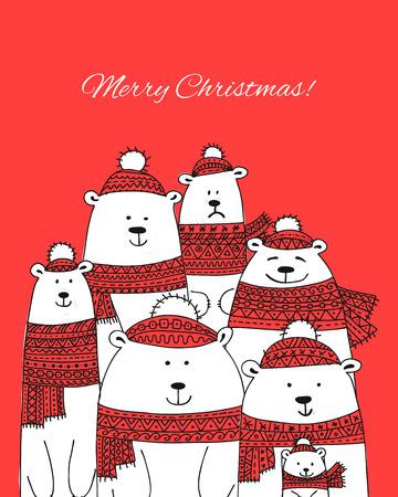 Christmas card with white santa bears family