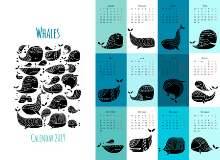 Whales, calendar 2019 design Illustration