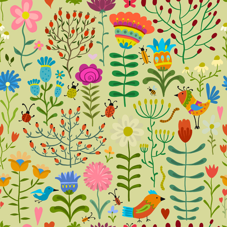 Floral seamless pattern, sketch for your design