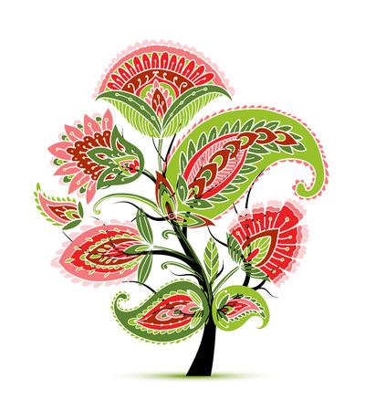 Vintage magic floral tree, sketch for your design
