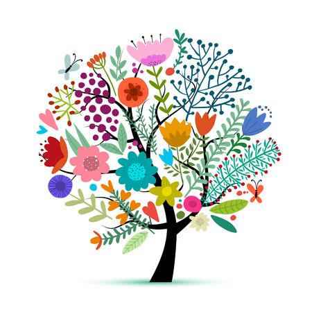 Floral tree, sketch for your design