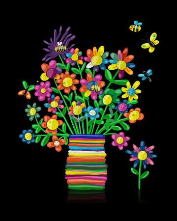 Floral bouquet in vase, plasticine sketch for your design Illustration