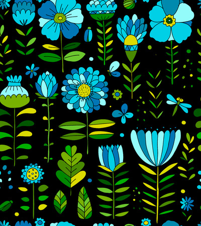 Floral meadow, seamless pattern for your design