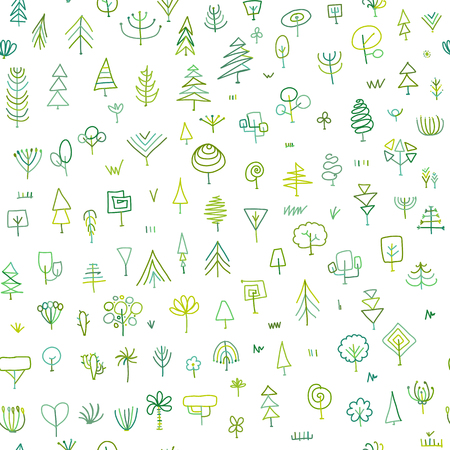 Seamless pattern with trees, sketch for your design Stock Illustratie