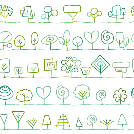 Seamless pattern with trees, sketch for your design Illustration