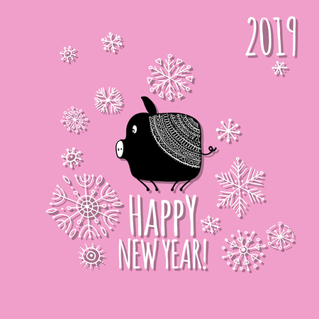 Christmas card with funny pig, symbol of 2019 year for your design Stock Vector - 112511257