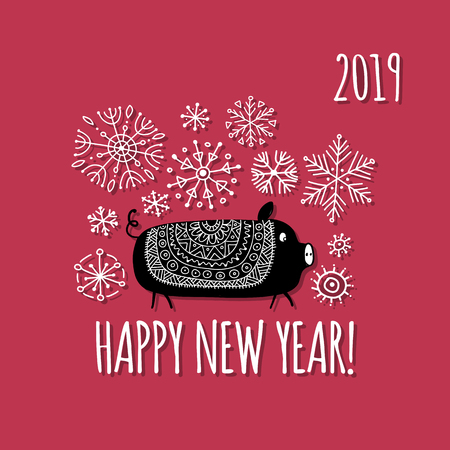 Christmas card with funny pig, symbol of 2019 year for your design Stock Vector - 112511255