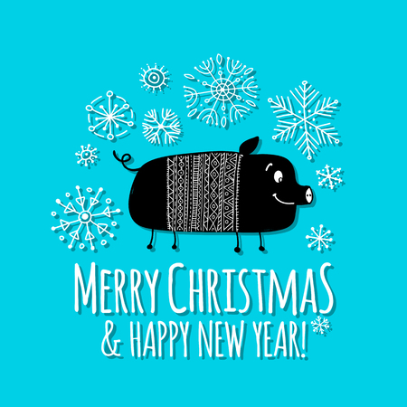 Christmas card with funny pig, symbol of 2019 year for your design Stock Vector - 112511258