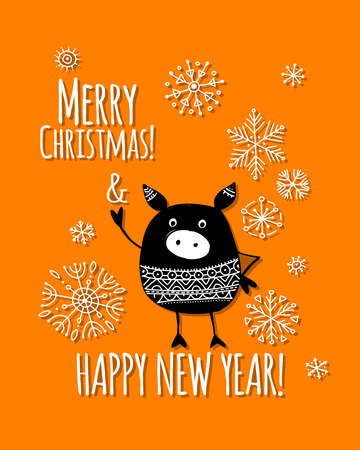 Christmas card with funny pig, symbol of 2019 year for your design Stock Vector - 112511259