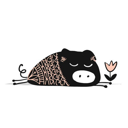 Cute piggy ornate silhouette, symbol of 2019 year Illustration