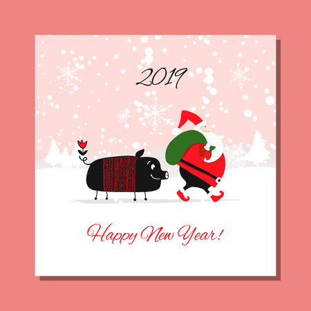 Christmas card, santa pig in forest. Symbol of 2019
