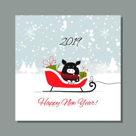 Christmas card, santa pig in forest. Symbol of 2019. Vector illustration Illustration