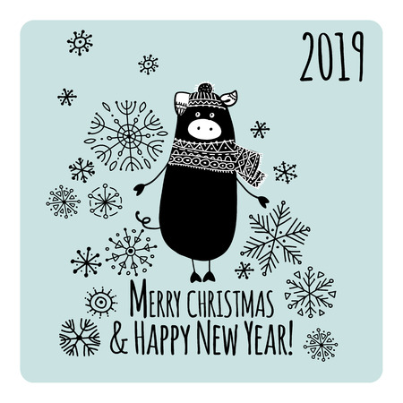Christmas card with funny pig, symbol of 2019 year for your design Stock Vector - 118667092