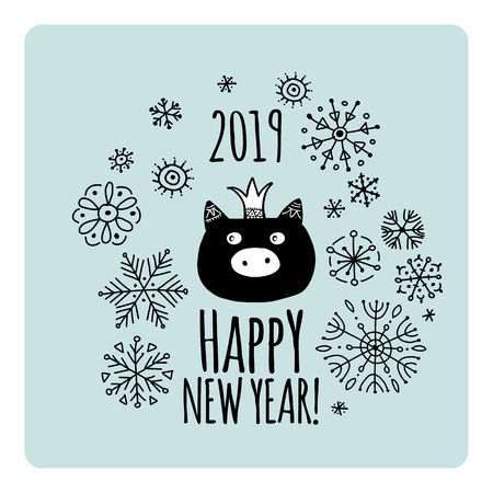 Christmas card with funny pig, symbol of 2019 year for your design Stock Vector - 118667097
