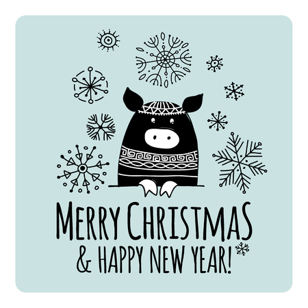 Christmas card with funny pig, symbol of 2019 year for your design Stock Vector - 118667098