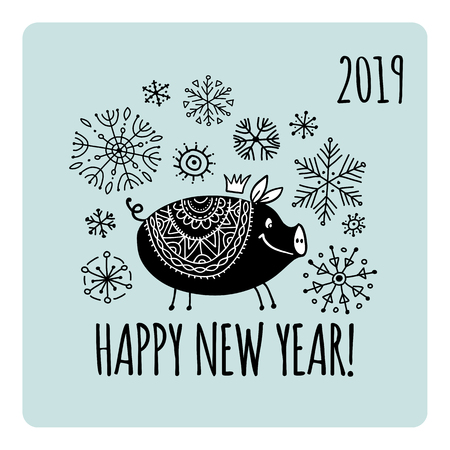 Christmas card with funny pig, symbol of 2019 year