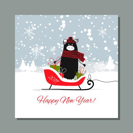 Christmas card, santa pig in forest. Symbol of 2019. Vector illustration Ilustração