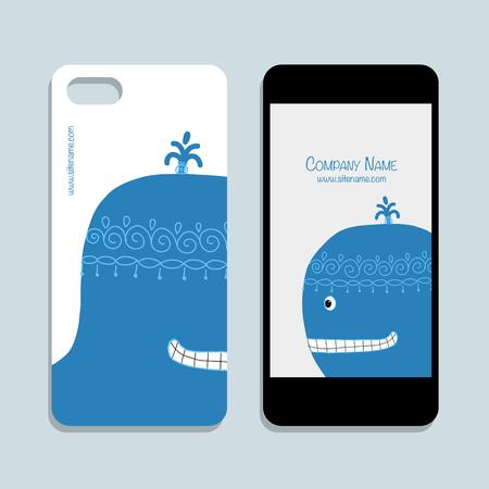 Mobile phone design, blue whale. Vector illustration Illustration