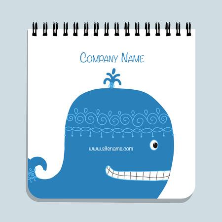 Notebook design, blue whale. Vector illustration Illustration