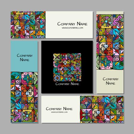 Business cards design, ethnic vintage ornament