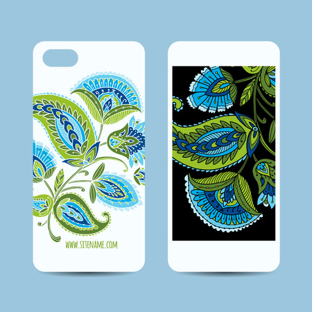Mobile phone cover design, floral background