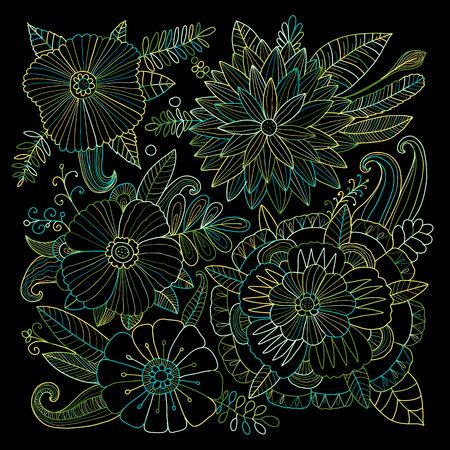 Floral background, sketch for your design. Vector illustration