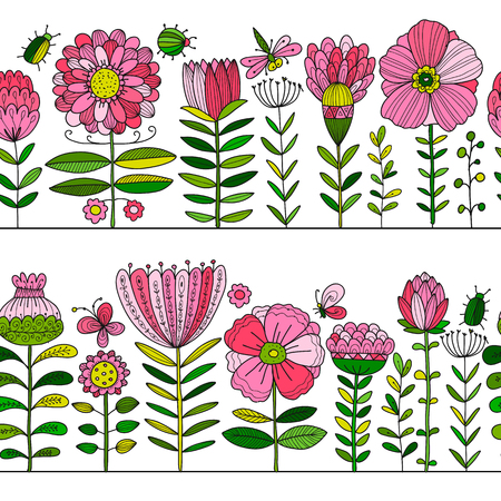 Floral garden, seamless pattern for your design