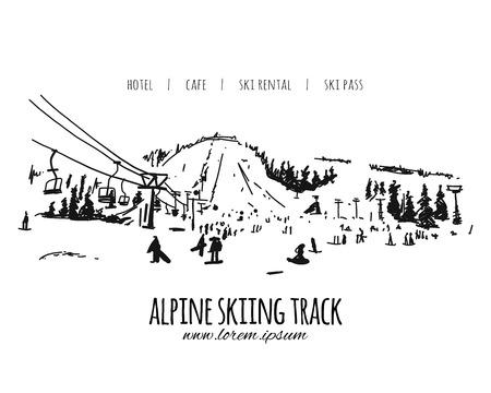 Piste de ski alpin, croquis pour votre conception. Illustration vectorielle