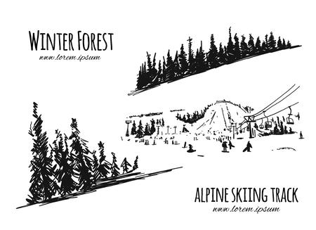 Alpine skiing track, sketch for your design. Vector illustration Illustration