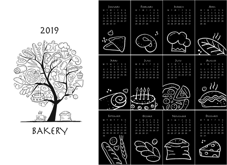 Bakery, calendar 2019 design Illustration