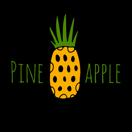 Pineapple, sketch for your design Ilustração